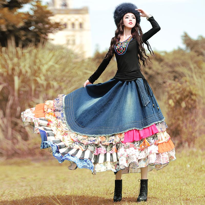 Boshow юбка с оборками пэчворк