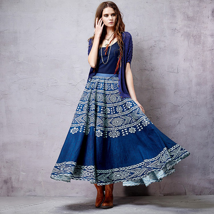 Artka синяя расклешенная юбка