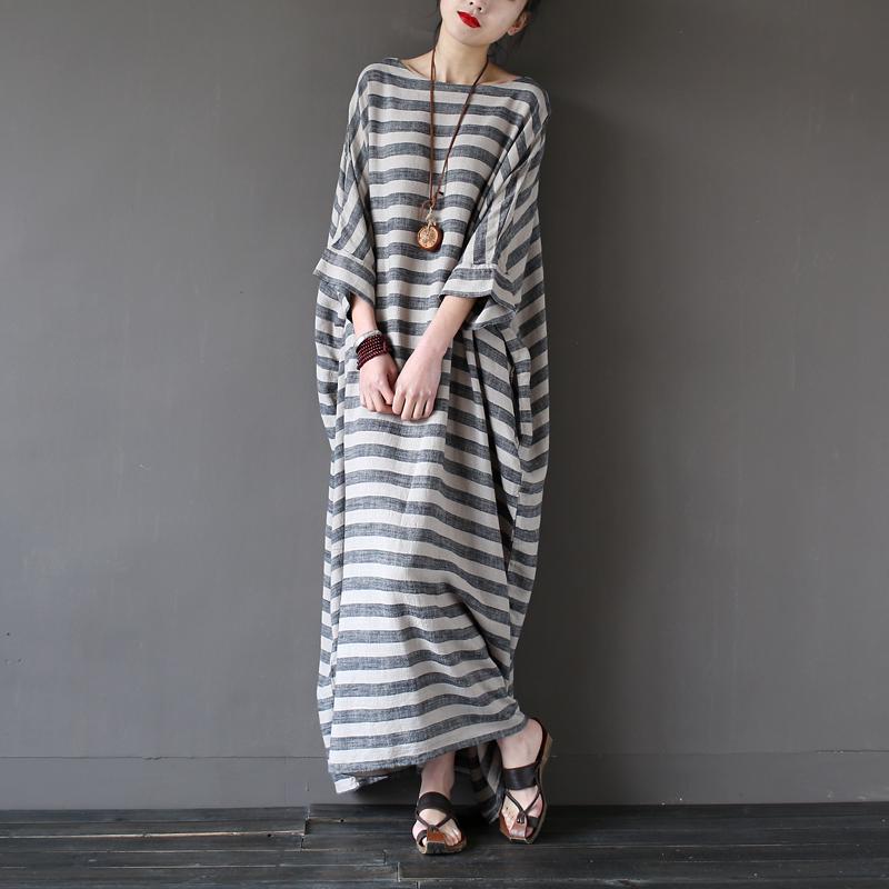 Pale ink широкое платье в полоску