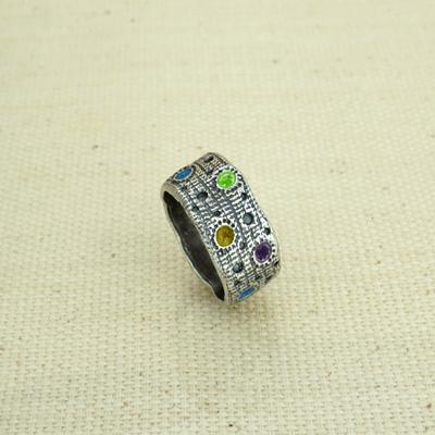 Кольцо Солнцеворот с разноцветной эмалью