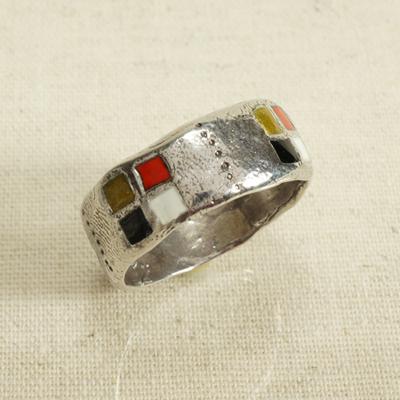Кольцо Солнцеворот с эмалью пастельных тонов