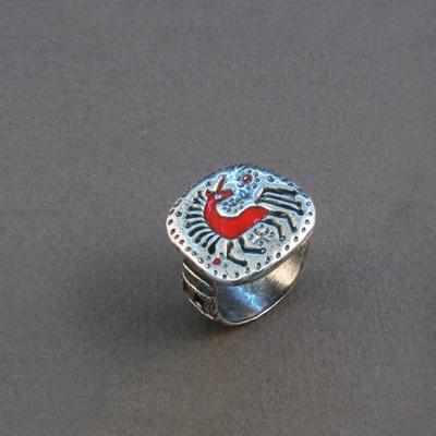 Кольцо Солнцеворот серебряное Единорог