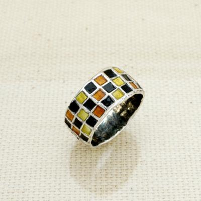 Кольцо Солнцеворот Мозаика серебряное