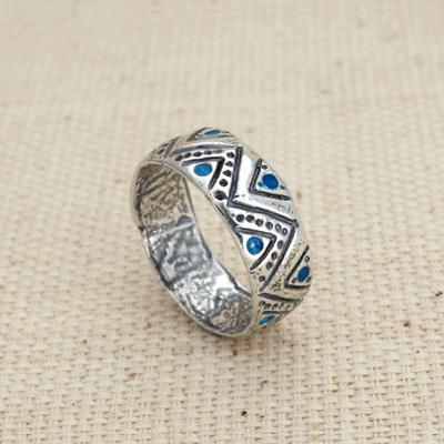 Кольцо Солнцеворот серебряное с голубыми вкраплениями