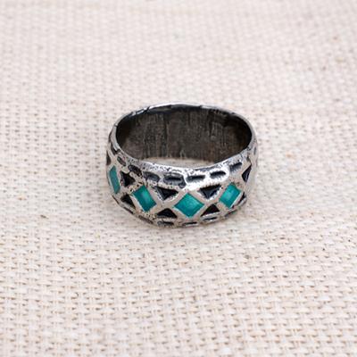 Кольцо Солнцеворот с лазурным орнаментом