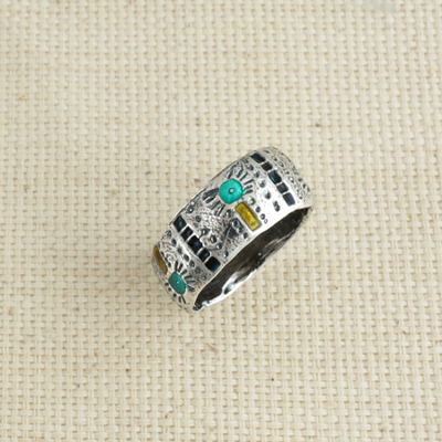 Кольцо Солнцеворот с лазурной эмалью