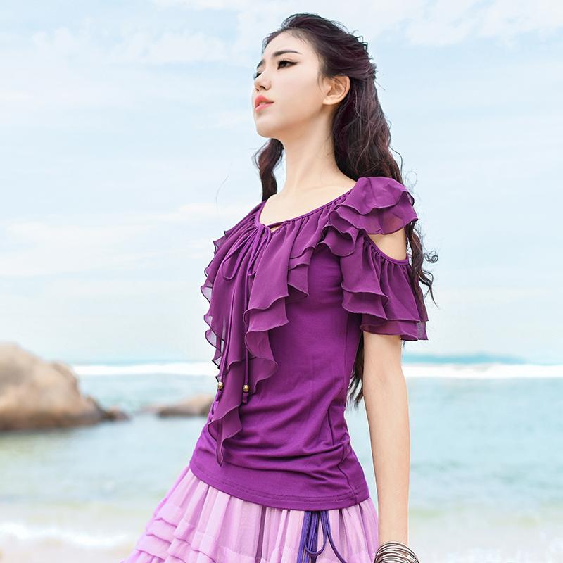 Boshow блуза с открытыми плечами и рюшами