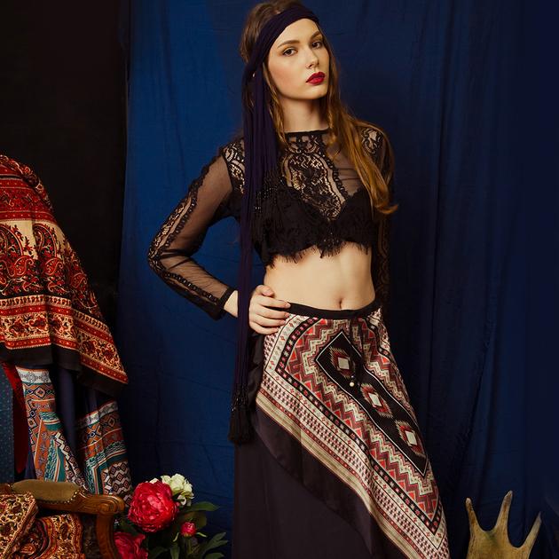 WonderMary юбка этническая чёрная
