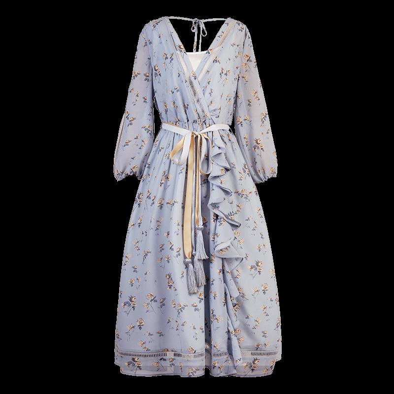 Artka платье голубое с оборками