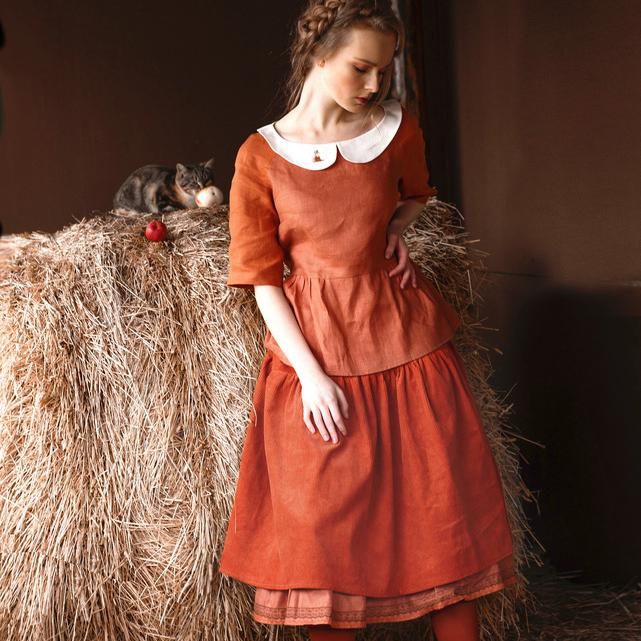 WonderMary юбка из вельвета терракотовая