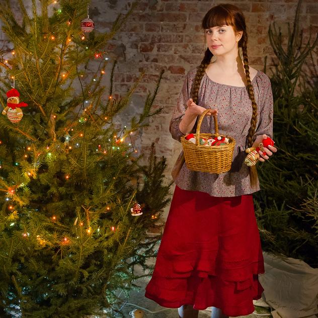 WonderMary юбка красная льняная с защипами