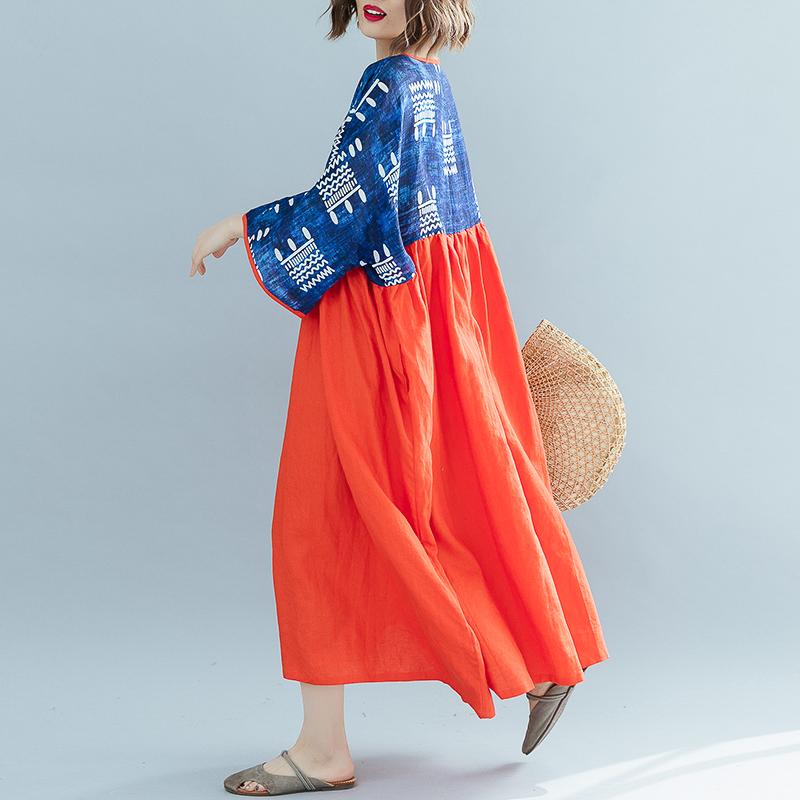 Wuxi свободное комбинированное платье