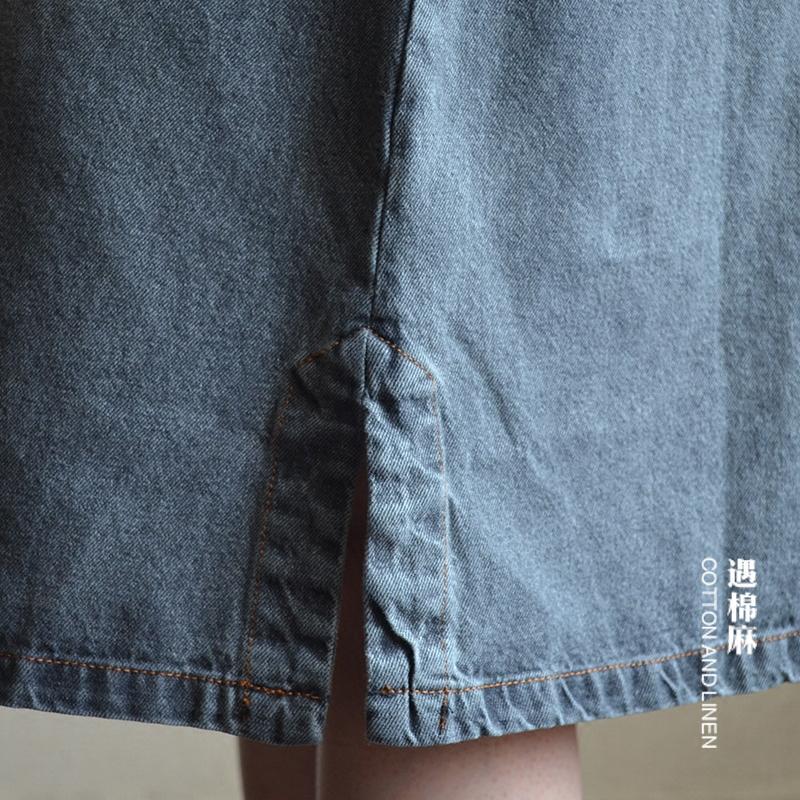 QYCQ сарафан из джинсы с карманом