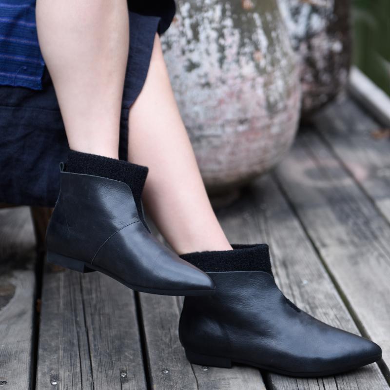 Artmu остроносые ботинки с трикотажной вставкой