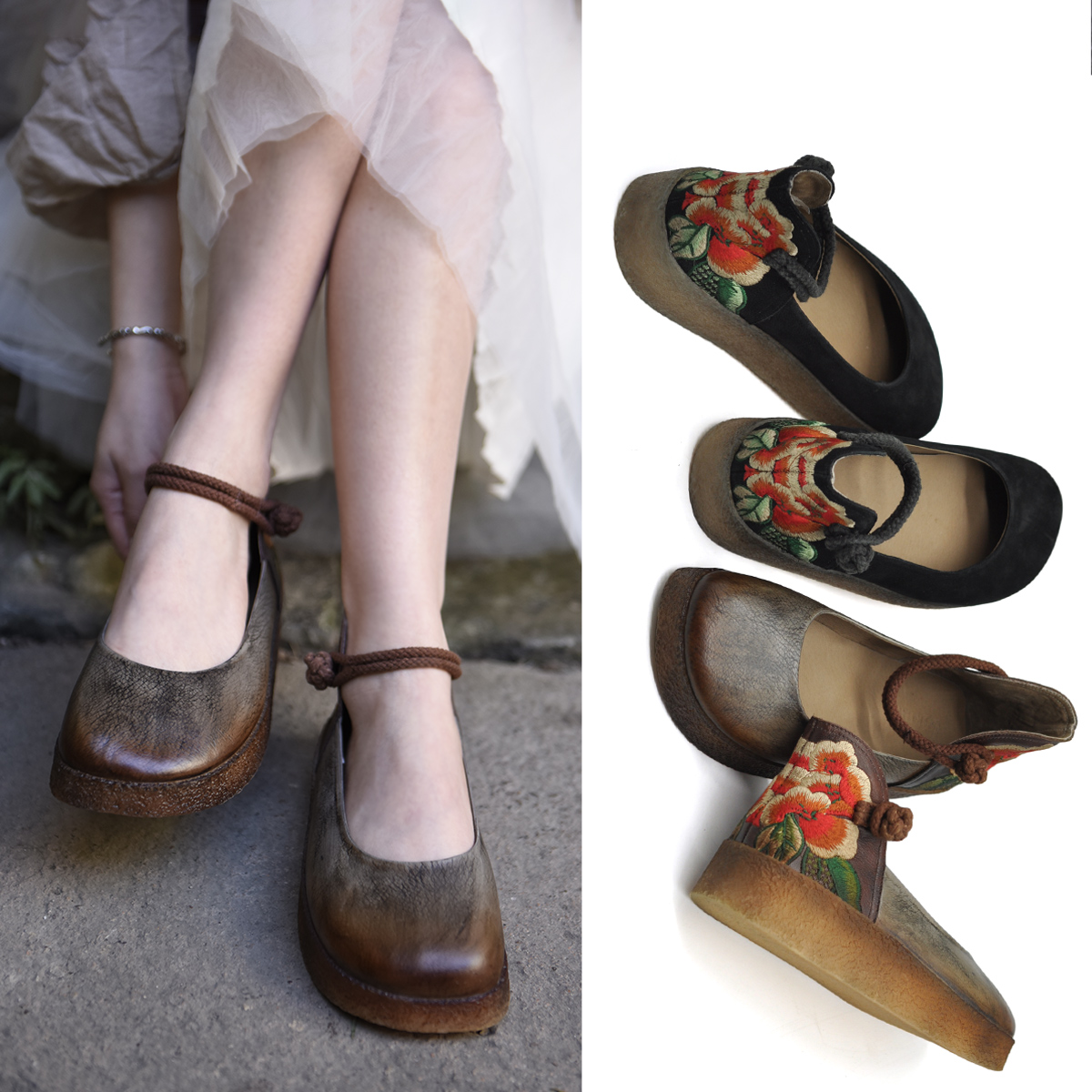 Artmu туфли с цветами на пятке