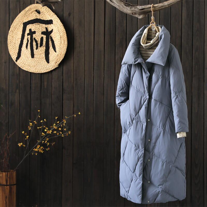 Пуховое пальто серое (шоу-рум)