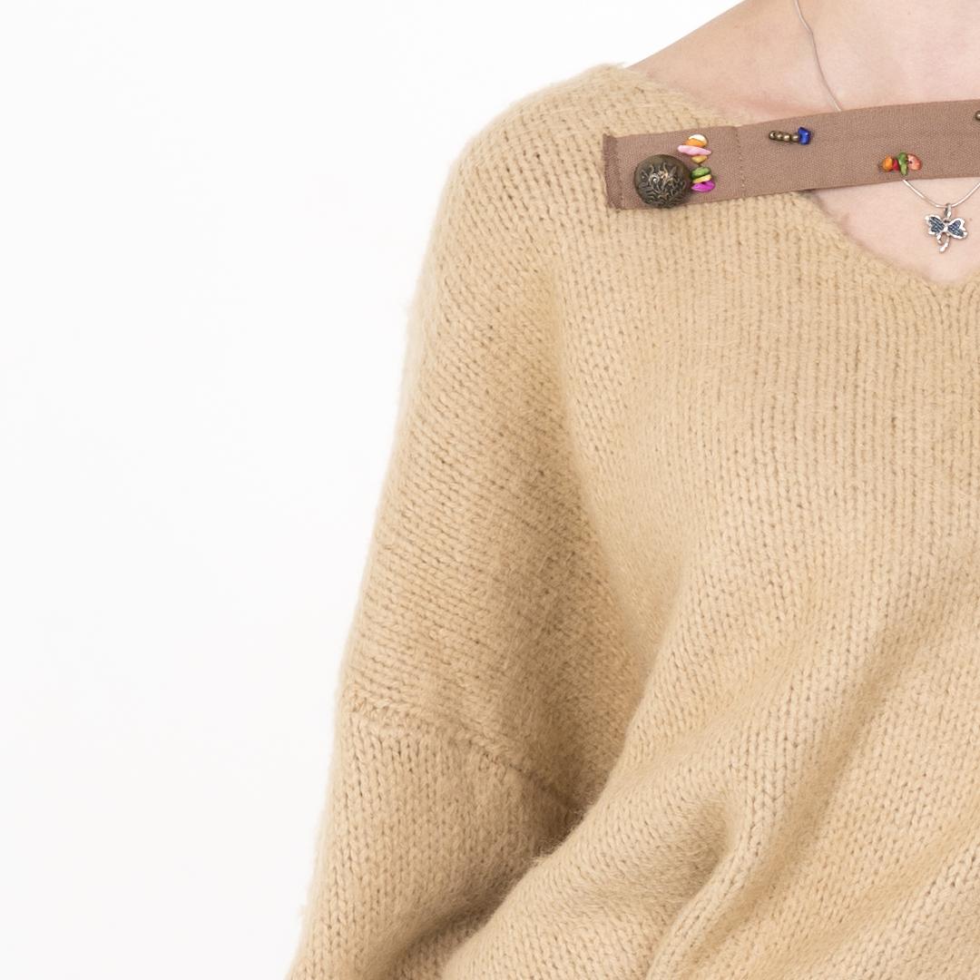 Boho style свитер с бисером (в наличии)