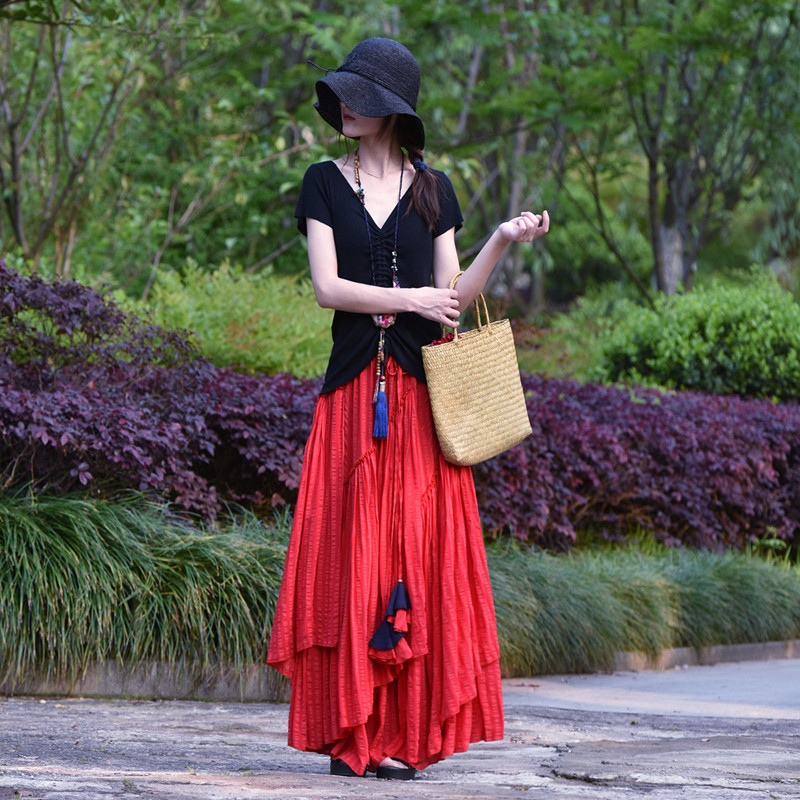Suxin многослойная юбка в полоску (1)