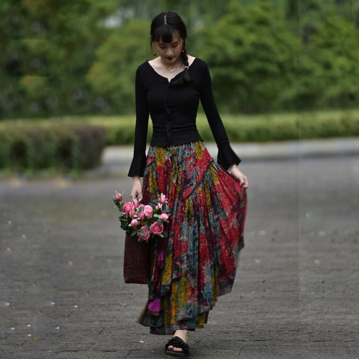 Suxin многослойная юбка пёстрая (1)