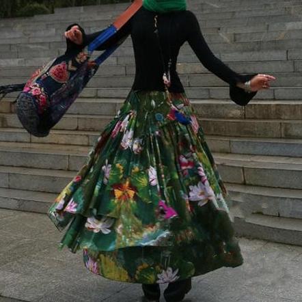 Suxin многослойная юбка с лилиями (1)