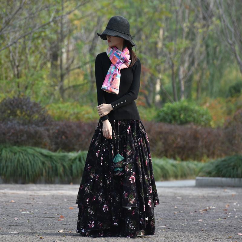Suxin многослойная юбка чёрная с цветами (2)