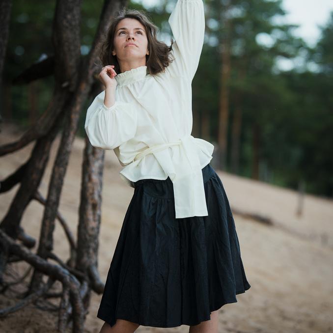 WonderMary блузка с объемными рукавами молочная (3)