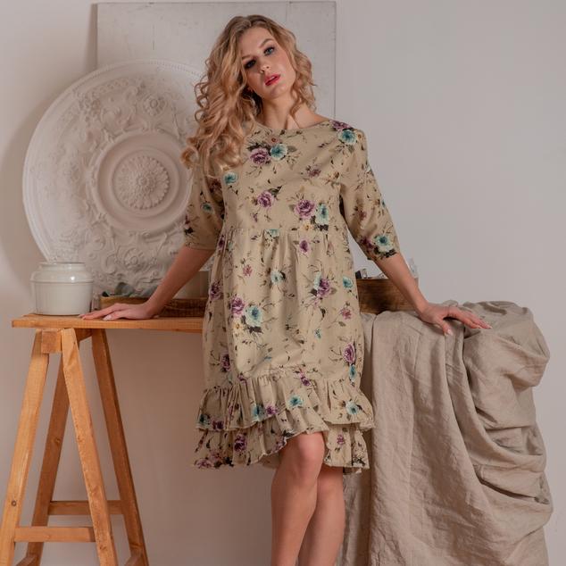 WonderMary платье с сиреневыми и бирюзовыми розами