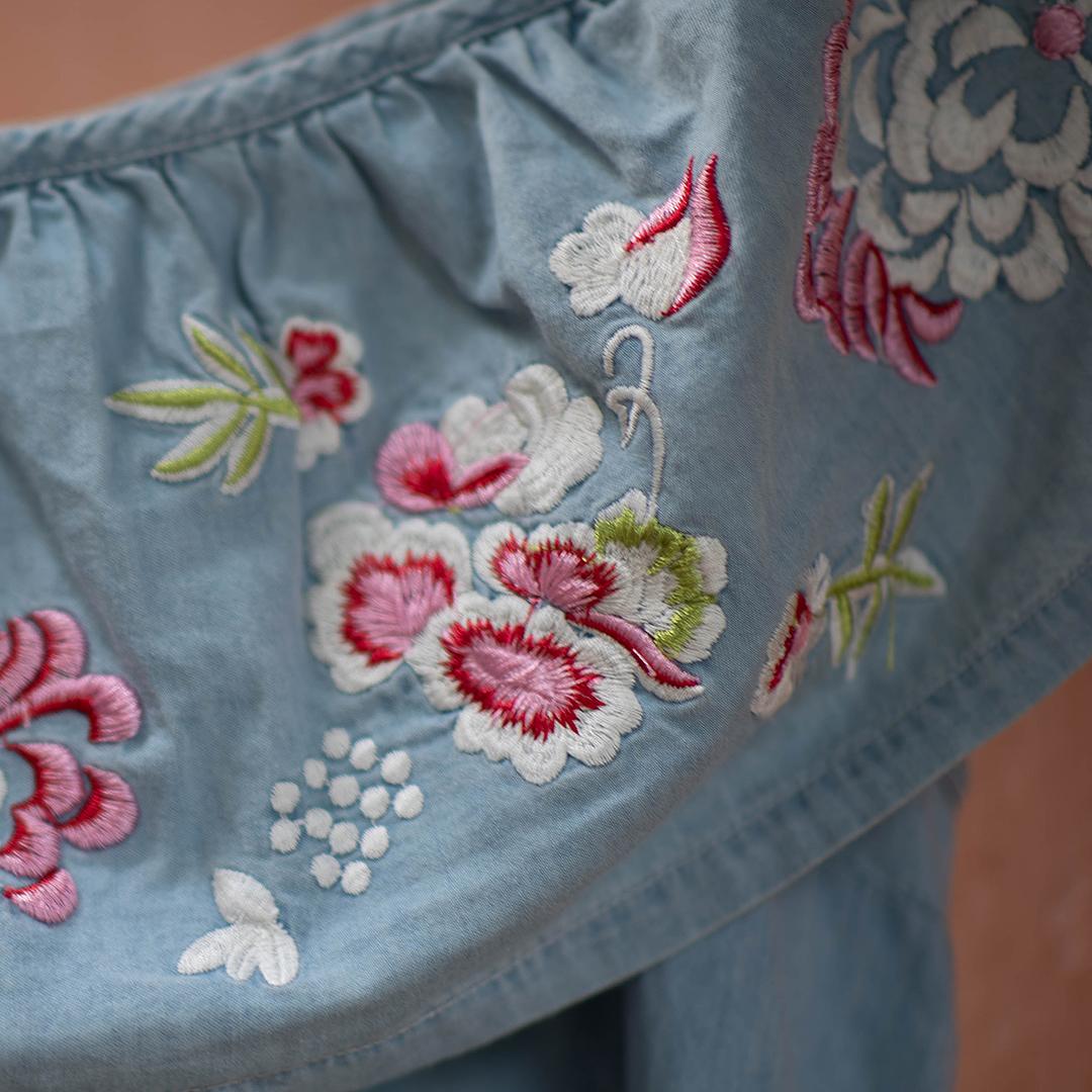 New look топ джинсовый с вышивкой