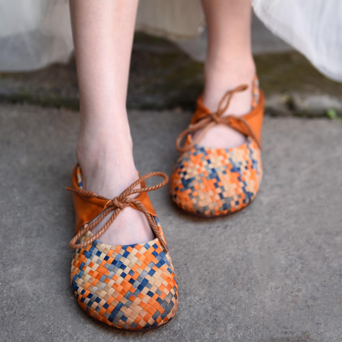 Artmu плоские плетённые туфли