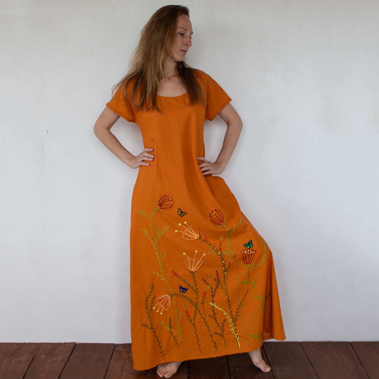 MarlЁn оранжевое платьe с вышивкой (1)
