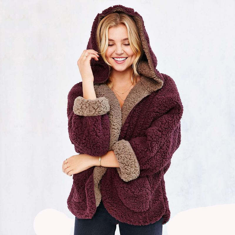 Findit плюшевая куртка с капюшоном (1)