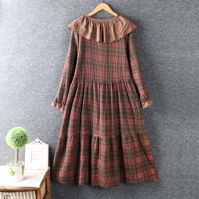 Left-Lefty платье в кретку с широким воротником