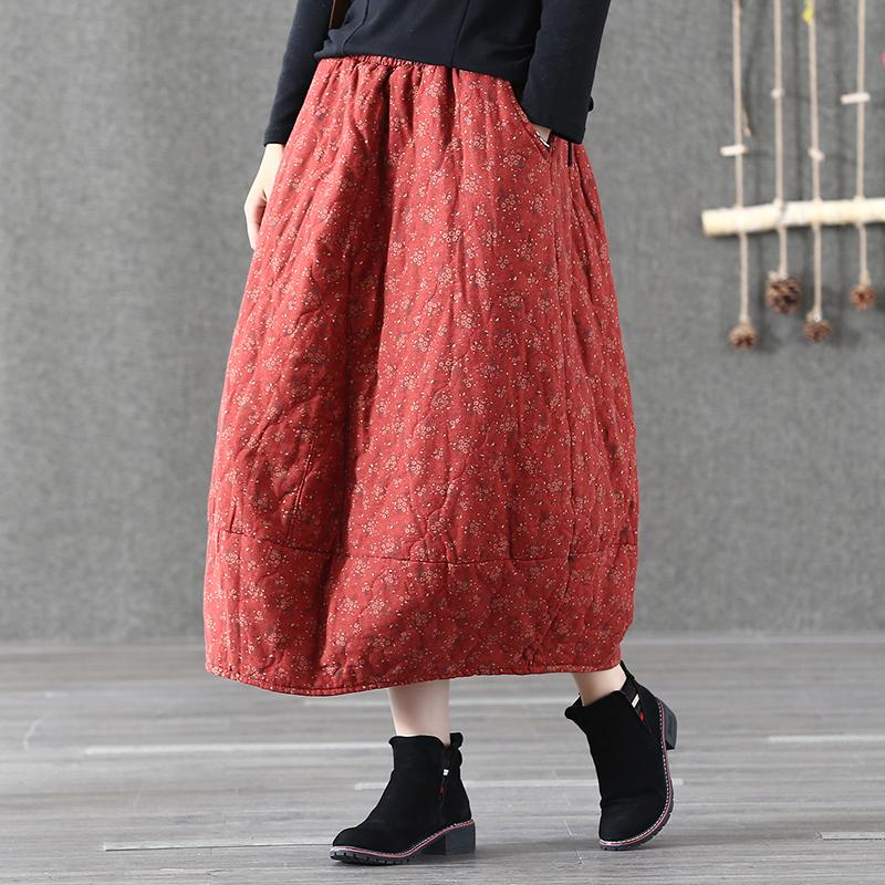 Осенне-зимняя стеганая юбка в стиле ретро