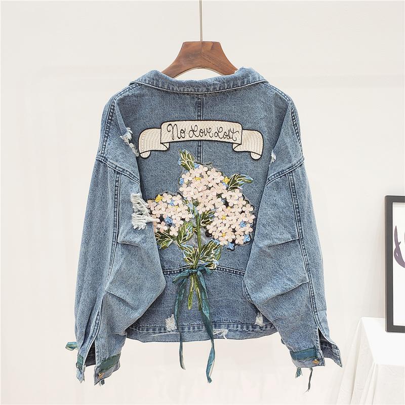 MUSI джинсовая куртка с вышивкой на спине