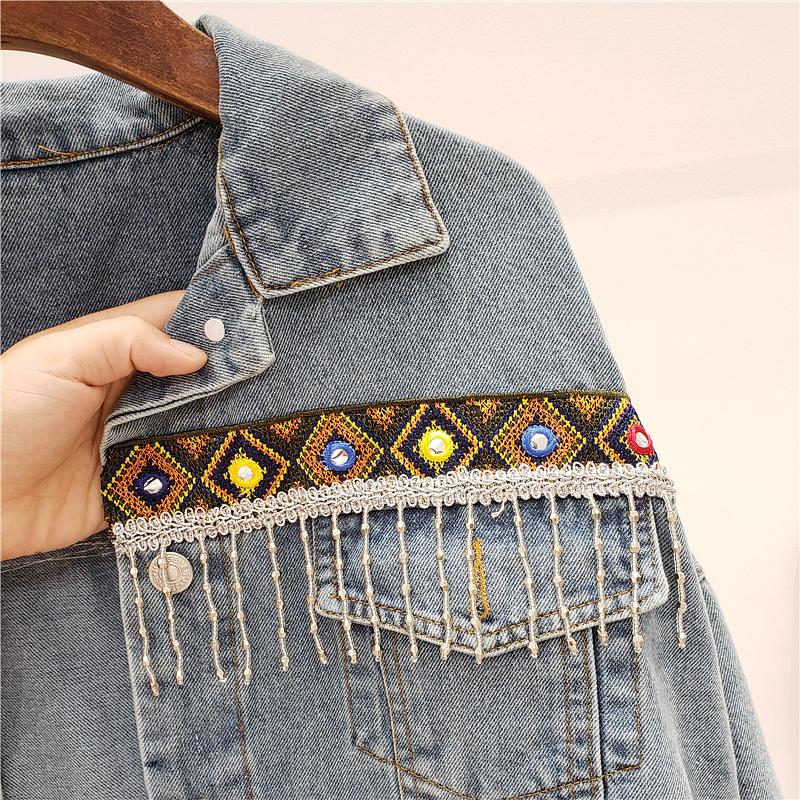 MUSI джинсовка с вышивкой и кисточками