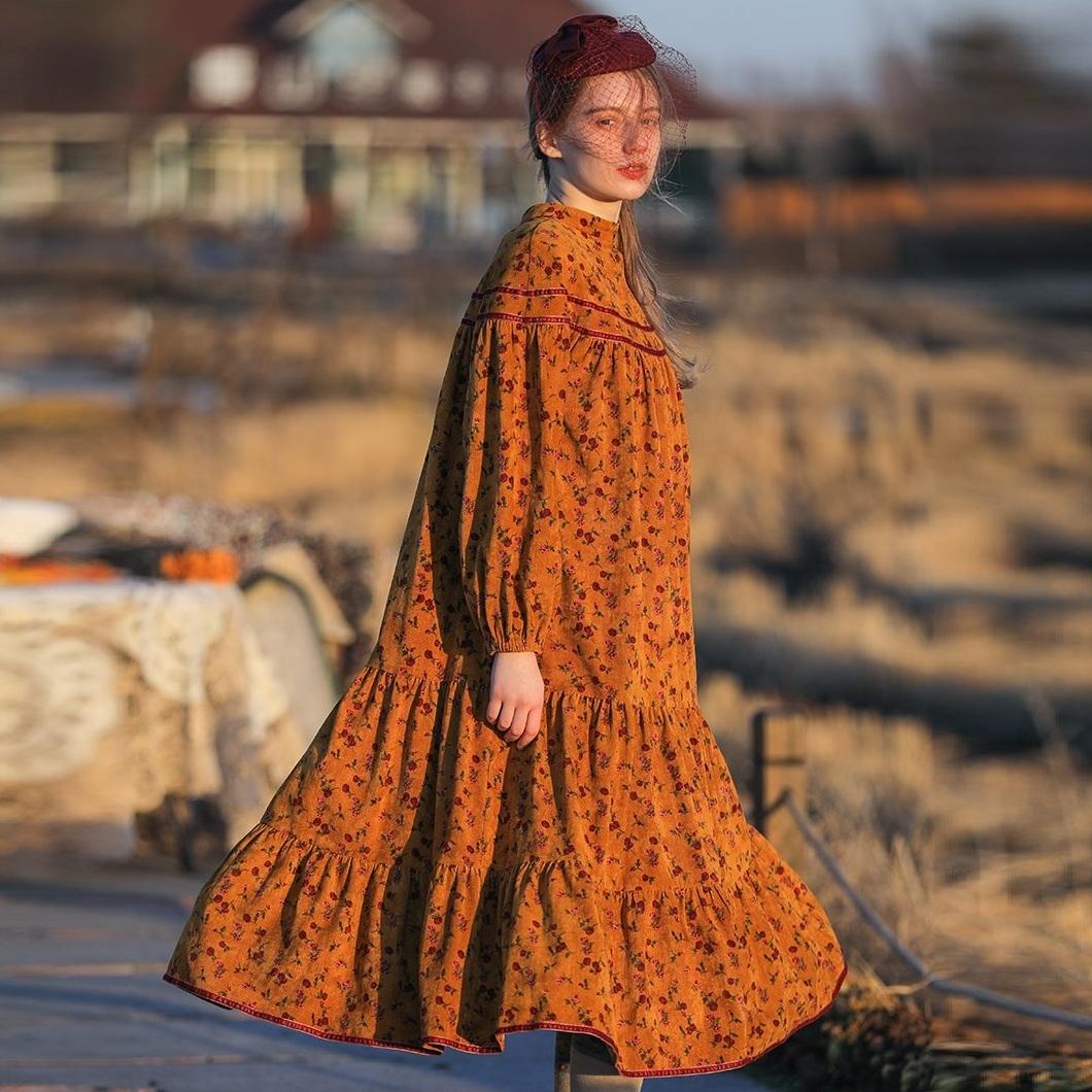 Liner свободное вельветовое платье