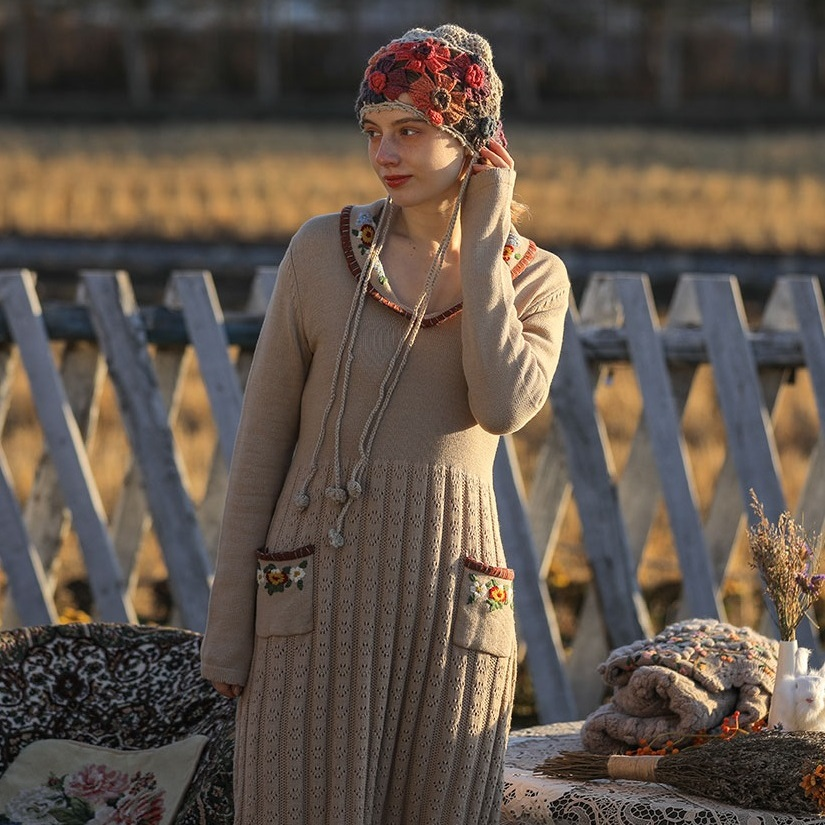 Liner вязаное ретро платье