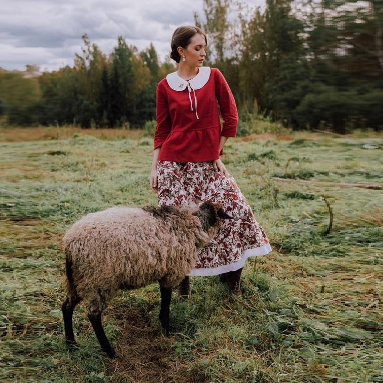 WonderMary юбка из льна с узором