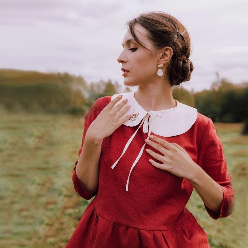 WonderMary блузка темно-красная льняная