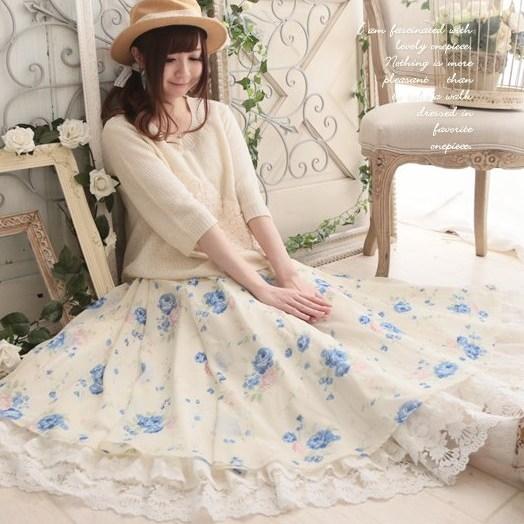 Mori girl нижняя юбка с кружевным подолом