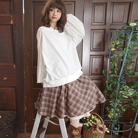 Mori girl винтажная юбка в клетку