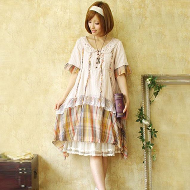 Mori girl комбинированное платье