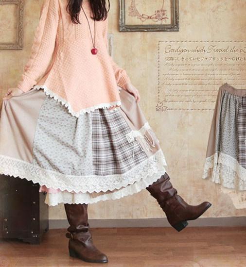 Mori girl многослойная миди юбка