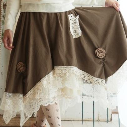 Mori girl юбка с кружевом на подоле
