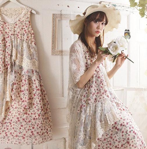 Mori girl платье кружевное в цветочек