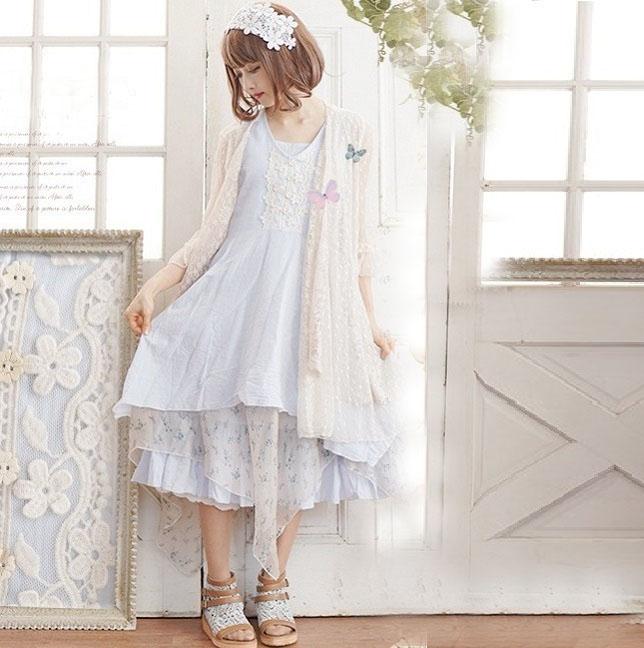 Mori girl миди платье без рукавов