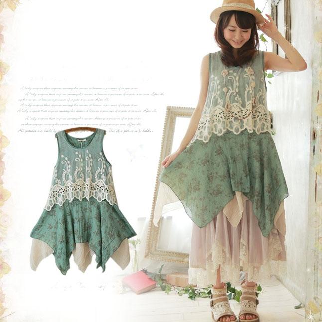 Mori girl асимметричное кружевное платье