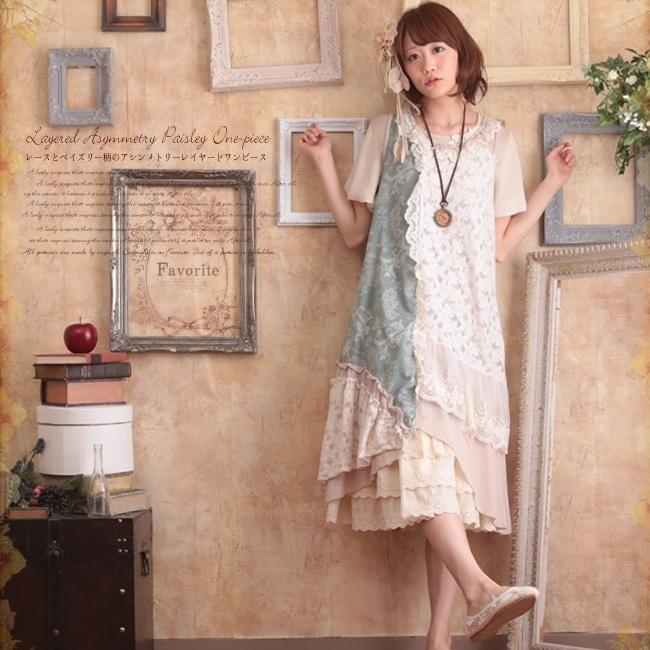 Mori girl платье комбинированное с кружевами