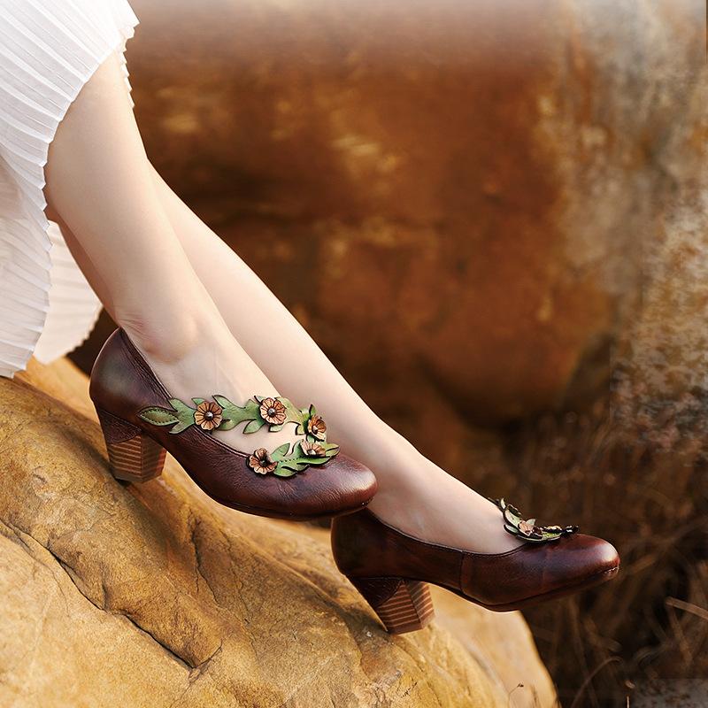 Кожаные туфли с цветочками (Серпухов)