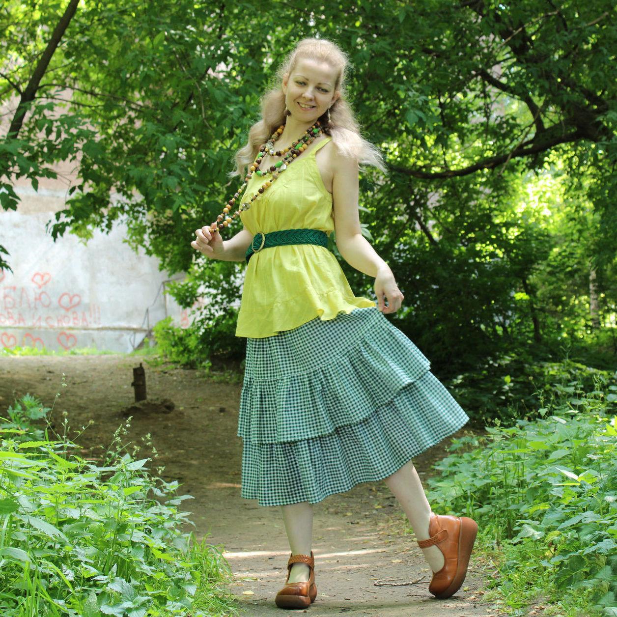 Nata Schu зелёная юбка миди в клетку